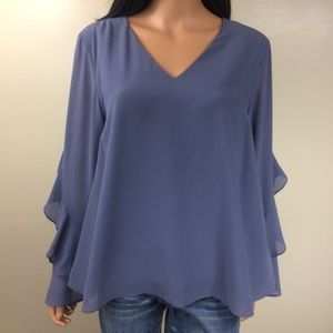She + Sky Silk Blouse Bell Sleeves Sz L